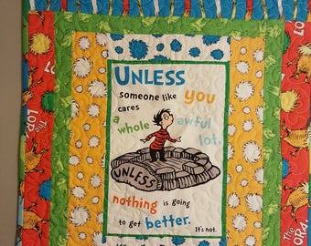 Hand Made Quilt Wall Hanging -- Dr Seuss LOXAX UNLESS -- Colorful, Great for Kids Room