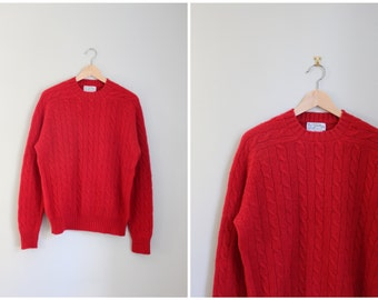 red wool cable knit sweater - red wool crewneck sweater / Wilmington Country Store - 80s preppy sweater / Christmas sweater - red sweater