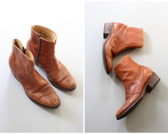 vintage 1970s Levis boots - tan leather ankle boots / Levis western boots / 1970s brown leather boots - ankle western boots / mens 8M
