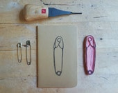 Safety Pin  Notebook Moleskine Journal Hand Carved Equality Justice Acceptance