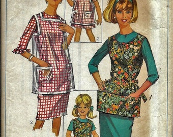 Vintage 1960s Simplicity 6809 Childs Girls Apron Smock Sewing Pattern Size 10-12 Artist Gardening Baking