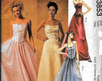 McCall's 3853 Evening Elegance Boned Top And Skirt Dress Sewing Pattern UNCUT Size 6, 8, 10, 12