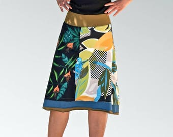 Fancy skirt flora tropical hand-painted in jersey cotton double flounces