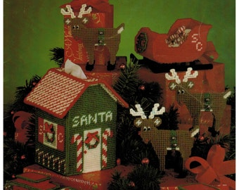Leisure Arts Creative Christmas Projects for Plastic Canvas Santa Tissue House, train, sled and more