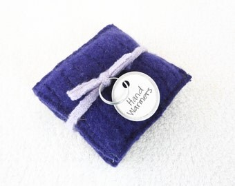 Cashmere Hand Warmers ROYAL PURPLE Cabled Felted Cashmere Rice Bag Handwarmers Gift for Kids Coworker Teacher Stocking Stuffer by WormeWoole
