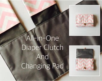 MADE TO ORDER All-in-One Diaper Clutch and Changing Pad, available in 9 colors chevron diaper clutch and changing pad