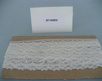 10 Yards 5/8 Inch White/Ivory Polyester Lace Trim