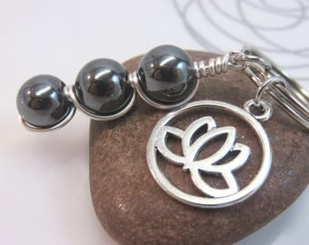Hematite keychain black gemstone keyring bag charm wire wrapped beaded lotus flower silver with swivel clasp