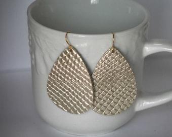 Gold Champagne Leather Snakeskin Teardrop Drop Earrings