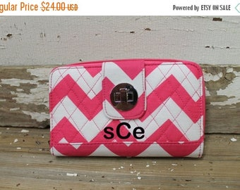 SPRING Pink Chevron Quilted Wallet Personalize or monogram Included