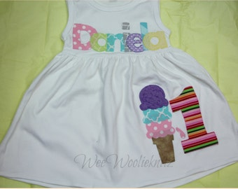 Birthday Ice Cream Dress, Personalized Summer Dress, Toddler, 1st 2nd 3rd Birthday, Birthday Dress, Beach Cover Up