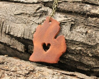 World Travel Leather Pendant Necklace... USA Heart in Michigan