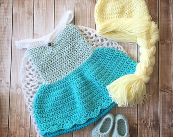 Queen Elsa Frozen Inspired Costume/ Crochet Princess Elsa Wig/Princess Costume/Princess Photo Prop Newborn to 12 Month Size-MADE TO ORDER