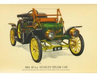 Vintage Motor Vehicle -  1911 10 h. p. Stanley Steam Car - Prescott Pickup - Old Collectors Original Fine Art Reproduction Postcard