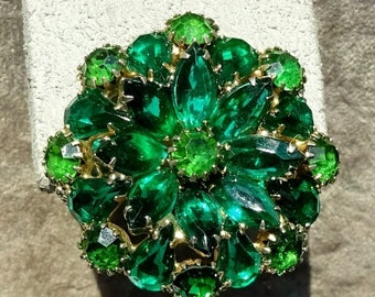 Sale Pre Holliday Vintage Weiss Open Back Green Rhinestone Brooch All different Colored Greens, Stacked and just Beautiful