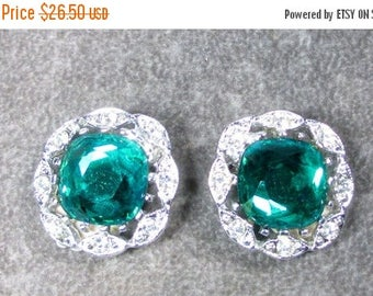 """ON SALE MINT Vintage Sarah Coventry Earrings """"Kathleen"""" 1964 Aqua Green Main Stone Surrounded with Clear Rhinestones"""