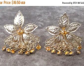 ON SALE Vintage Floral Earrings, Rootbeer Colored Rhinestones, Dangles Earrings