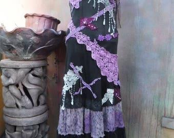 20%OFF gothic dress, bohemian, boho, bohemian dress, formal dress, slip dress, gothic, black, vintage, victorian, western, shabby, tattered
