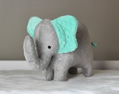 Stuffed Elephant Toy - Gray and Aqua Teal Minky Plush Elephant - Elephant Toy -Nursery Decor -Baby Easter Gift - Kids Easter Gift