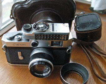 Canon P 35mm Rangefinder Camera with 50mm f1.8 Lens, Meter, Lens Hood and Cases