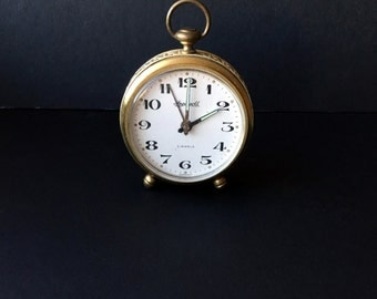 Vintage Antique Alarm Clock Watch Brass Metal Germany 1950s 50s Victorian Collectibles Home Decor