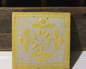 Clay tile mexican vintage coaster home decor boho bohemisn chic earthy