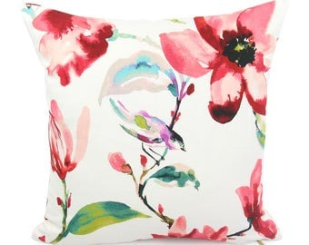 Red and White Floral Pillow Cover, 18x18, 20x20, 22x22 Euro Sham or Lumbar Accent Pillow, Bird Woodland, Colorful Cushion, Zoey Coral