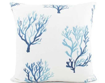 Blue Coral Pillow Cover, 18x18, 20x20, 22x22, Euro Sham, Lumbar, Blue White Pillow, Throw Pillow Cushion, Toss Accent, Lacefield Santorini
