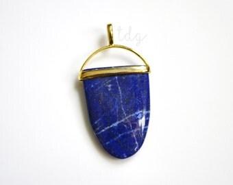 Blue Lapis Lazuli Tongue Shaped Pendant with a Vermeil Gold Bail, Lapis Pendant
