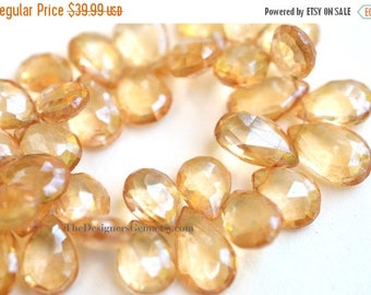 SALE Gorgeous Whiskey Champagne Mystic Coated Crystal Quartz Faceted Tear Drop Briolettes 15 x 9mm-1/2 Strand