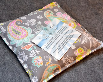 Corn Heating Pad, Corn Bag, Microwavable Heat Pack, Hot Cold Therapy Pillow, Spa Gift for Him -- Small 9x9 -- Paisley Perfect