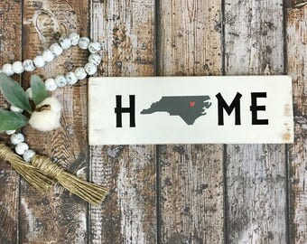 Custom Home State Sign With Silhouette NC State Sign Shown. Any State Like New York, Florida, Texas, California, Virginia. Custom State Sign