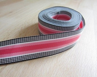 Grosgrain Ribbon 7/8 inch Stripes in Black and Pinks.  Black Licorice Stripe Scrapbooking Hair Bow Ribbon.  5 yards.
