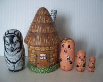 Hand painted Three Little Pigs stacking nesting doll set