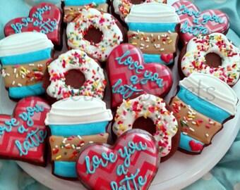 Valentine cookies - 1 dozen Coffee and donut cookies - latte cookies - love cookies - cookie gifts - decorated cookies