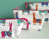 Custom order Large Hand Embroidered Llama Zippered knitting tote bag notion pouch make up case