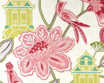 Braemore - 2 Yards of Emperor's Garden Blossom Fabric-Raspberry,Soft Pink,Chartreuse,Kiwi,Turquoise, Purple and Grey