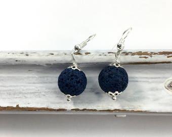 Blue lava essential oil diffuser earrings