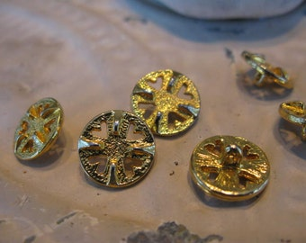 Set of 7 Gold Textured Sand Dollar  Buttons, With Cut Outs, Shanks from 1920s-50s Stash More in SEASEARIDER Convo for a Size, Style, Color