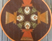 Retro Danish small round table cloth/ place mat for Christmas  / Sødahl / 70s