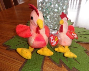 RARE! Retired Ty Beanie Babies Matched Set Strut w/Teenie Strut the Rooster