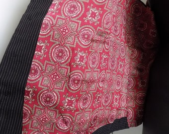 """1950s-60s Man's Black wool striped vest / waistcoat  lined in red satin with buckle waist strap / wool/ 42"""" chest"""