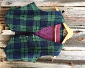 Vintage Vest cropped Black Watch Wool Plaid