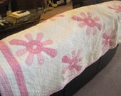 Vintage Handmade Pink and White Quilt