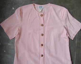 Vtg 80's Pink Grosgrain Ribbon Rayon Wood Satin Short Sleeve Dress Small Medium