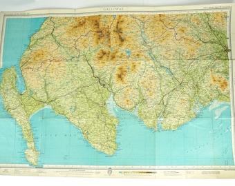 Galloway map, map of Galloway, Scotland, Bartholomew's map, Large vintage map