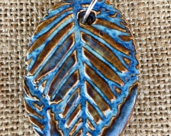 Denim Leaf Pendant, Ceramic Leaf Pendant, Ceramic Necklace, Blue Ceramic Necklace, Ceramic Pendant, Ceramic Jewelry, Leaf Jewelry