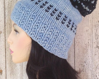 Light Blue and Navy Blue Bulky Yarn Pom Pom Hat