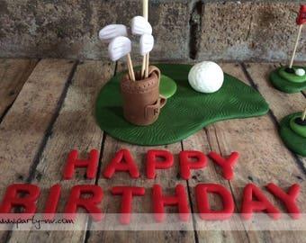 EDIBLE - (Fondant Topper) Golf Cake Decor