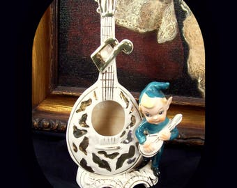 Vintage 1956 Lipper Mann L&M Pixie Elf Lute Mandolin Ceramic Vase Planter White Gold